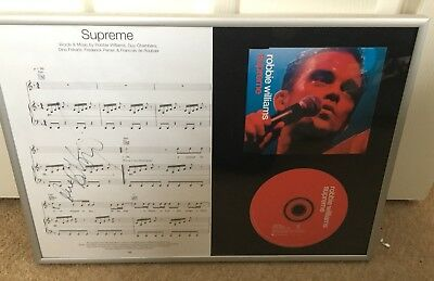 """ROBBIE WILLIAMS """"SUPREME"""" SIGNED music sheet. CD and Sleeve. Framed"""