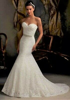 Size 10 12 14 16 White Ivory Wedding Dress Lace Mermaid Strapless