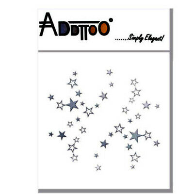 ADDTTOO®  Party Stars Metallic Silver  Transfer Foil Temporary Tattoo Face Body