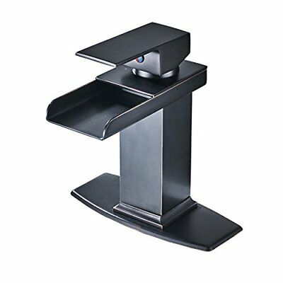 Senlesen Oil Rubbed Bronze Waterfall Spout Bathroom Sink Vessel Vanity  Faucet.