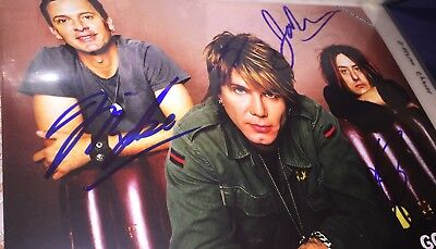 autographed Signed 8x10 picture photo GOO GOO DOLLS JOHN ROBBIE MIKE complete x3