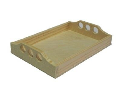 Wooden tray serving bed breakfast coffee 17 x 25 cm Natural Pine Wood Small RAW