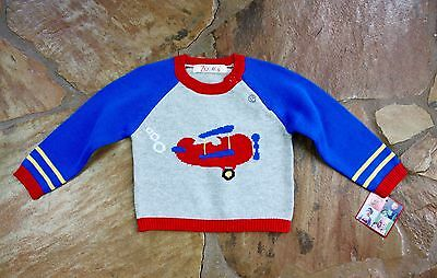 NEW Hand Knit Zubels Airplane Sweater 6 mths Boys Spring RV$36