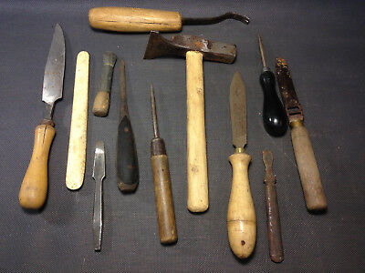 Lot antique equipment shoemaker, saddler old occupation deco workshop factory