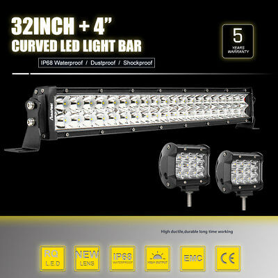 """32 inch Curved LED Light Bar + 2x 4"""" CREE Led Pods OffRoad Truck Driving Jeep 34"""