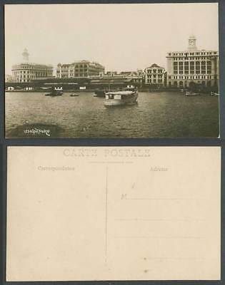 Singapore Old Real Photo Postcard Waterfront View from Sea Ferry Boats Panorama