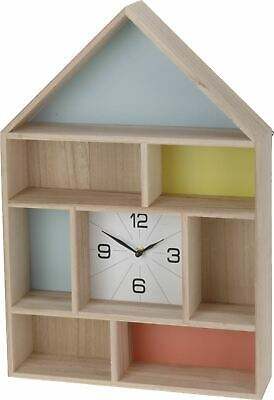 Wooden Wall Hanging Clock House Cabinet Storage Shelf Shelving Unit Cupboard New