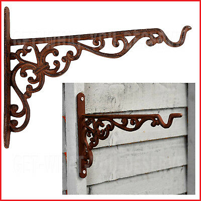 Large Ornate Rustic Cast Iron Hanging Basket Bracket Antique Wall Planters 36 cm