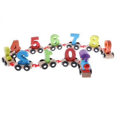 Baby Early Learning Digital 0~9 Numbers Train Puzzle Blocks Wooden Toy Gift