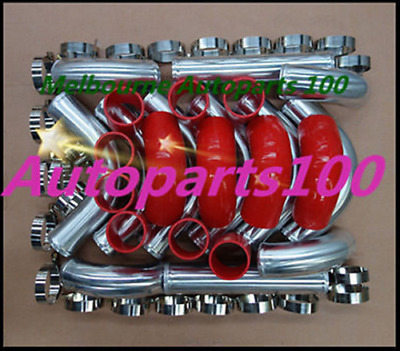 "3"" Alloy Universal Ladeluftkühler intercooler Turbo pipe Red hose T-Clamp kits"