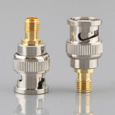 2pcs Adapter BNC Plug Male to SMA Female Jack RF Connector Straight Hot