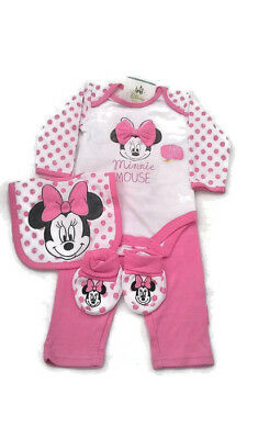 Disney Minnie Mouse Baby Girls 4 Piece Outfit Gift Set  Age 1 Month - Newborn