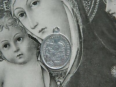 Antique St. Anthony of Padua Our Lady Immaculate Miraculous Medal Pendant