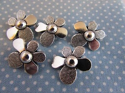 Silver Tibetan Flower Buttons in Zinc Metal Shank in Pack Sizes of 2, 5 or 10