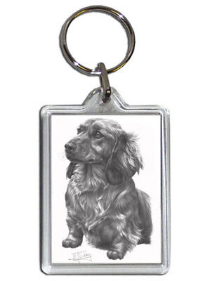 Mike Sibley Long Hair Dachshund Dog Quality Acrylic Keyring 50mmx35mm - Gift