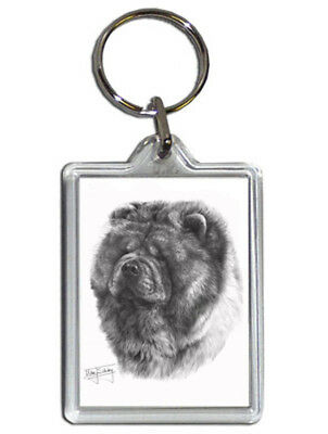 Mike Sibley Chow Chow Quality Acrylic Keyring 50mm x 35mm - Dog Lover Gift