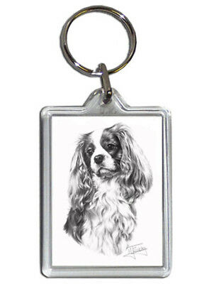 Mike Sibley Cavalier King Charles Dog Quality Acrylic Keyring 50mm x 35mm - Gift