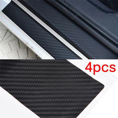 4pcs 3D Carbon Fiber Look Car Door Plate Sill Scuff Cover Sticker Anti Scratch@H