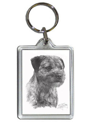 Mike Sibley Border Terrier Quality Acrylic Keyring 50mm x 35mm - Dog Lover Gift