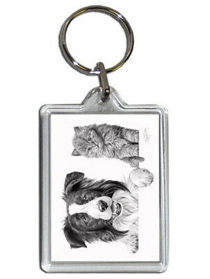 Mike Sibley Border Collie & Kitten Quality Acrylic Keyring 50 mm x 35 mm - Gift