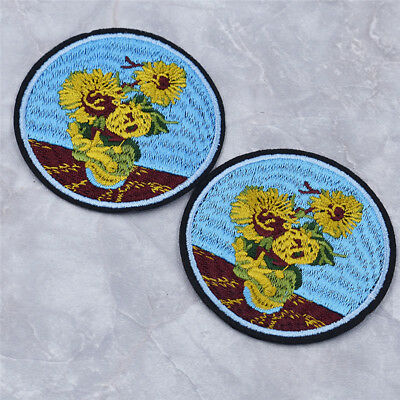 2pcs Cute Van Gogh Painting Sunflower Patches Clothes Bag Ironing on Decorations