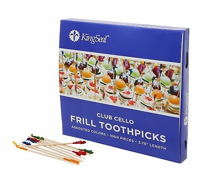 KingSeal Club Frill Sandwich Toothpicks, Assorted Colors - 5 Pack/1000 per Pa...