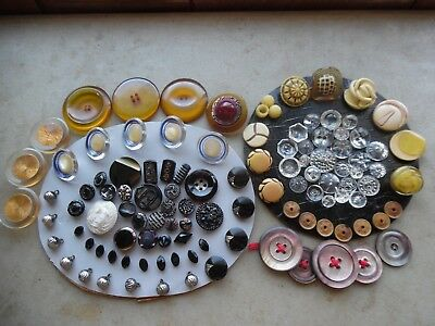 Antique Vintage Button Lot/Old Collection AppleJuice MOP Celluloid Glass Crystal