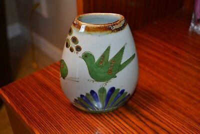 Ken Edwards El Palomar Mexican Pottery  Small Vase Glazed Green Bird