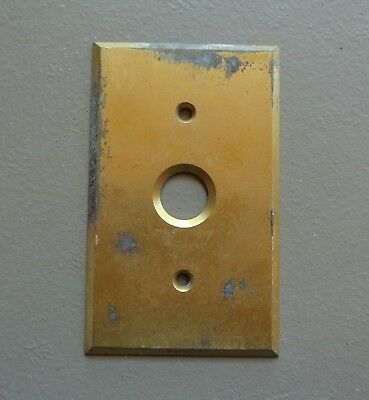 Vintage Single Push Button Switch Cover Plate Tarnished Solid Brass