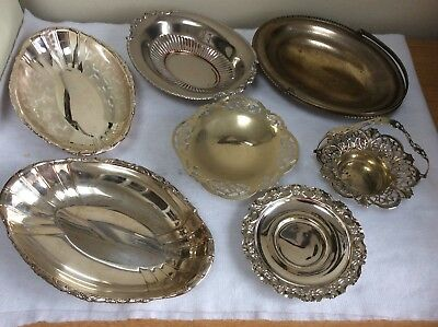 Assortment Of 7 Antique Silver Plate Trays