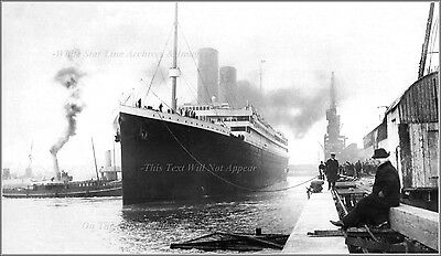 Photo: RMS Titanic Starts Maiden Voyage At Berth 44, Wide Field View, 1912