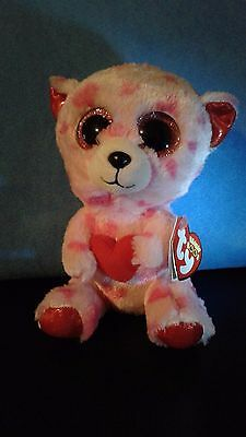 """Ty Beanie Boo - 2014 - Sweetikins the Valentine Bear -  6"""" - New with Tags"""