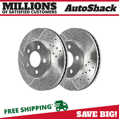 Front Pair (2) Silver Drilled Slotted Rotors 5 Stud Fits 2005-2010 Ford Mustang