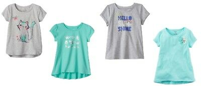 Girls Size 4T Short Sleeve Tops T Tees Gray or Aqua NWT