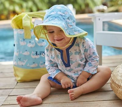 POTTERY BARN KIDS 6-12mo Baby Girls Tunic and Hat Outfit Beach Pool Whales  NEW