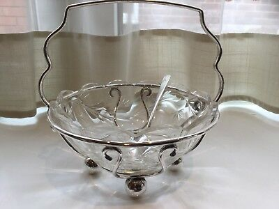 Beautiful Antique Silver Plated And Cut Glass Preserve Dish And Spoon
