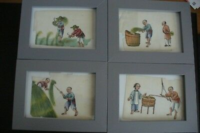 Victorian Chinese Paintings On Rice Paper