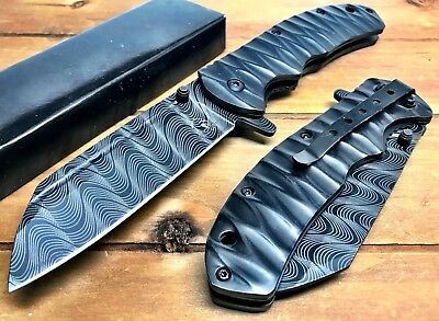"8.5"" TACTICAL Spring Assisted Open Pocket Knife CLEAVER RAZOR FOLDING Blade Bk"