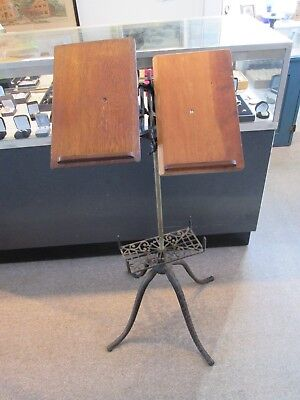 Antique Victorian Cast Iron & Oak Dictionary / Bible Stand
