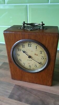 Attractive 8 Day Inlaid Wood Cased Mantle Clock. In Good Working Order