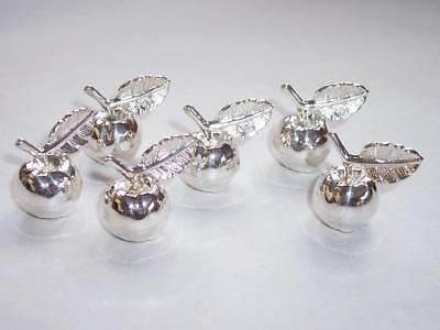Vintage French SILVER Plated PLACE CARD HOLDERS Miniature Apples 6 No