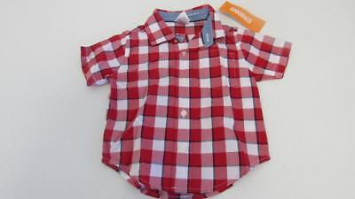 Gymboree Home Run Kid Red White Blue Plaid Button Up Shirt Top Size 6-12-18 NEW