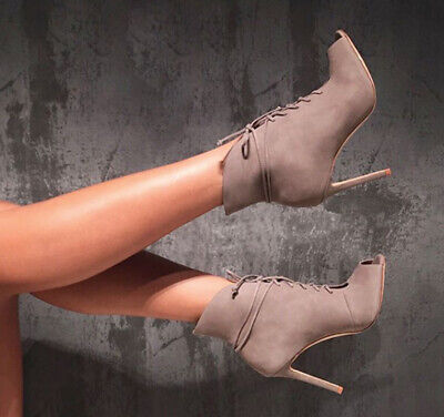8b22c867841d Schutz Mia Mouse Taupe Leather Open Peep Toe Lace Up High Ankle Bootie