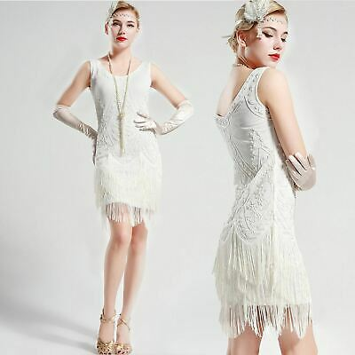Us Stock Gatsby Vintage Unique White Wedding Beaded 1920s Flapper