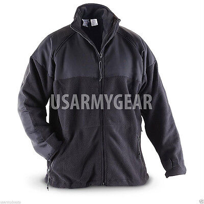 Made in USA PolarTec 300 Cold Weather Military Fleece Jacket Army Black Shirt