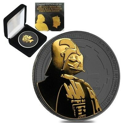 2017 1 oz Niue Silver $2 Star Wars Darth Vader Black Ruthenium (w/Box & COA)