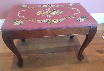 Antique Victorian Rose Floral NEEDLEPOINT Carved FOOT STOOL/ Foot Rest/ Bench