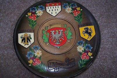 "German Wood Plaque Round 9.5"" Frankfurt"
