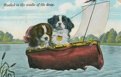 RARE Old Postcard Japanese Chin Dogs Rocked in Cradle of the Deep 1910 Germany