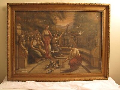 "Antique Vtg Victorian Ornate Gold Gilt Gesso Carved Wood Picture Frame 41""x31"""